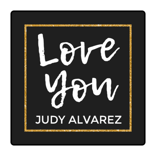 """Love You"" Glitter Style Square Gift Label"