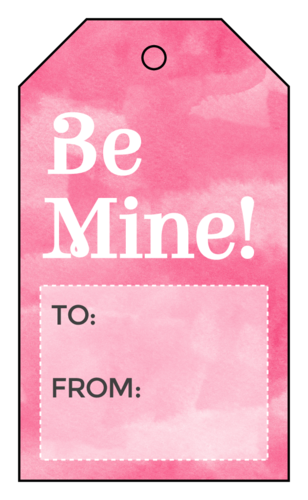 """Be Mine"" Pink Watercolor Valentine's Day Cardstock Gift Tag"