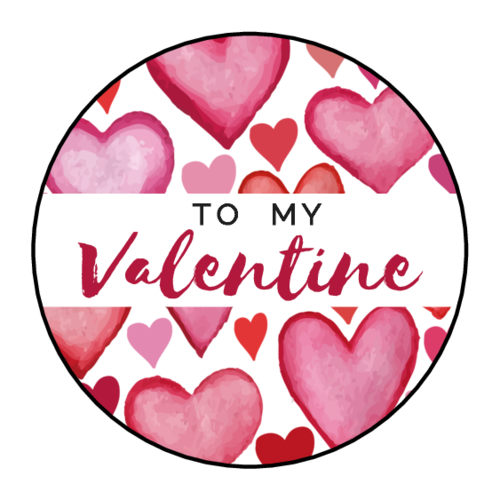 """To My Valentine"" Floating Hearts Circle Gift Label"