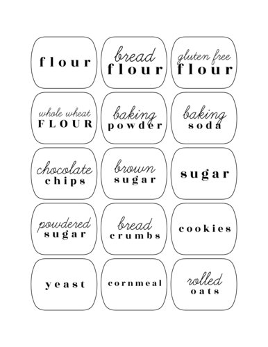 Assorted Pantry Labels