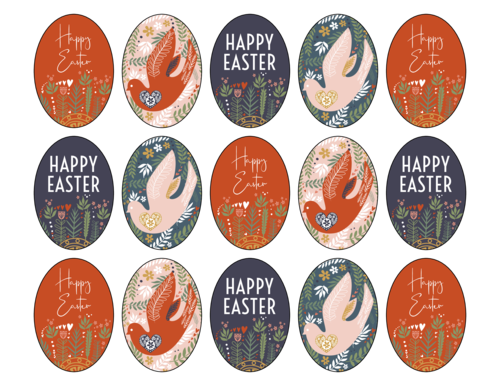 Assorted Floral Easter Egg Gift Tag Label