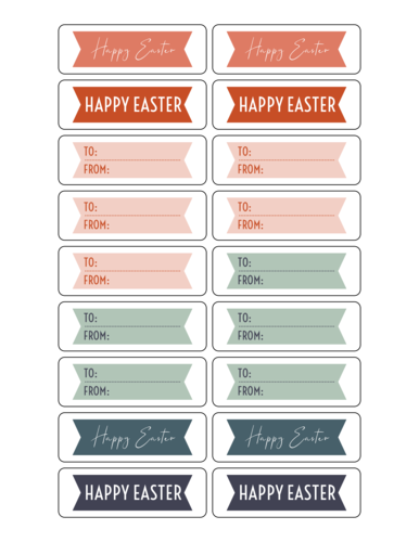 Assorted Banner Style Easter Gift Label