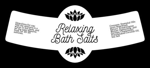 Relaxing Bath Salts Bottle Neck Style Label