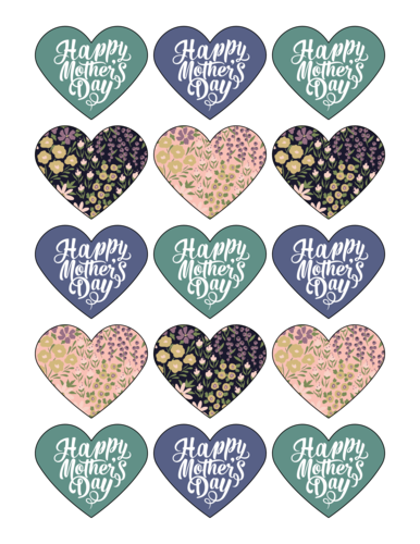 """Happy Mother's Day"" Assorted Floral Heart Label"