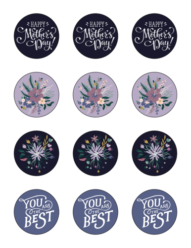 """Happy Mother's Day"" Assorted Floral Circle Label"
