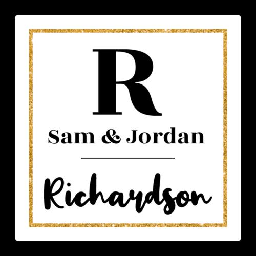 Couple's Square Monogram Label