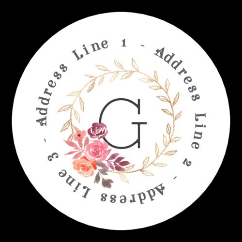Floral Monogram Circle Address Label