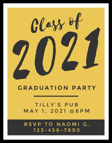 School Colors Graduation Party Invite Card