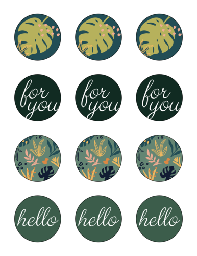 Assorted Tropical Circle Gift Tag Label