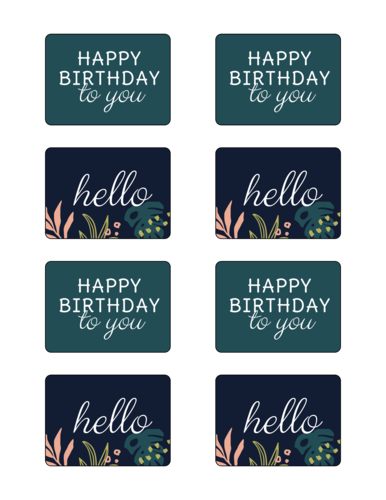 Assorted Tropical Birthday Gift Tag Label