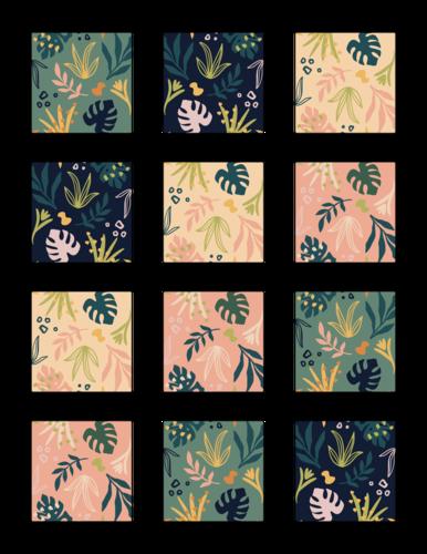 Assorted Decorative Tropical Square Label