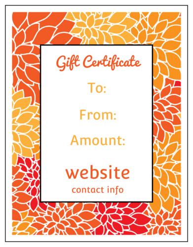 Floral Cardstock Gift Certificate Card