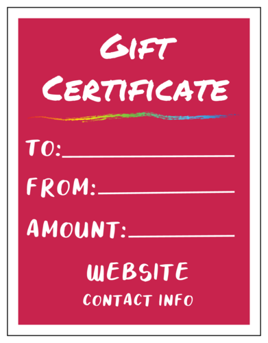 Colorful Cardstock Gift Certificate Card