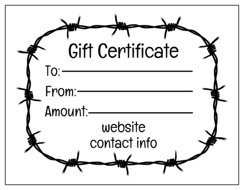 Barbed Wire Cardstock Gift Certificate Card