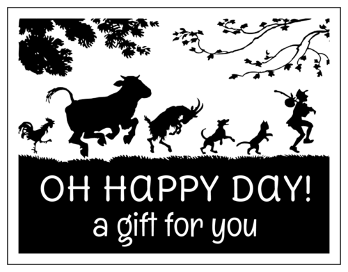"""""""Oh Happy Day"""" Cardstock Gift Certificate Card"""