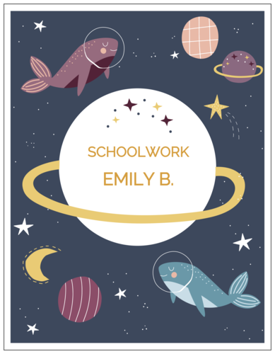 Full Sheet Decorative Whalestronauts Binder Name Tag Label