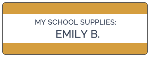"""""""My School Supplies"""" Large Color Coded Classroom Name Tag Label"""