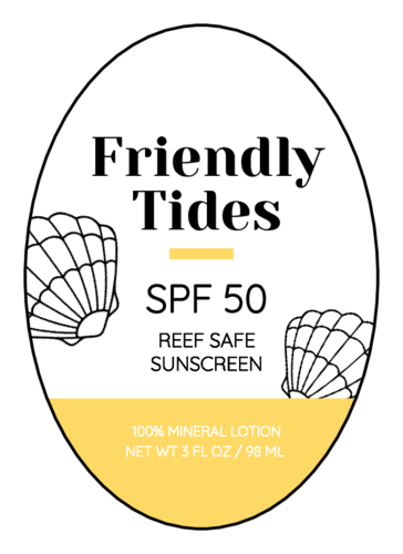 """""""Friendly Tides"""" Sunscreen Oval Label"""