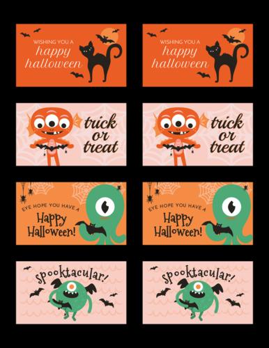 Spooky Assorted Halloween Monster Gift Labels
