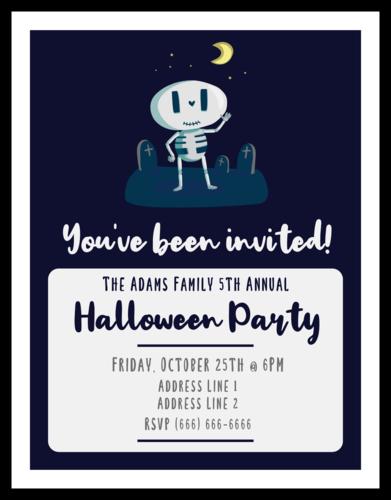 Spooky Skeleton Halloween Party Cardstock Invites