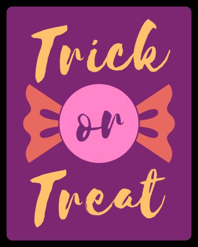 """Trick or Treat"" Halloween Wine Favor Label"