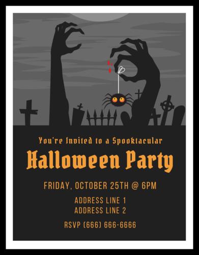Spooky Zombie Halloween Party Cardstock Invite