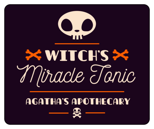 """""""Witch's Miracle Tonic"""" Halloween Beverage Label"""