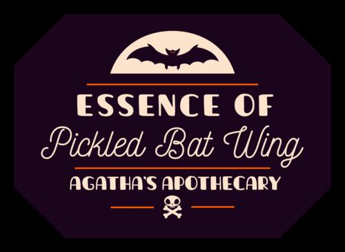"""""""Pickled Bat Wing"""" Halloween Beverage Label"""