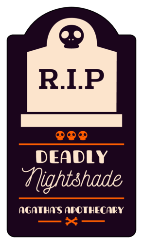 """Deadly Nightshade"" Decorative Halloween Beverage Label"