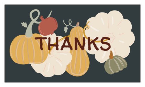 """Thanks"" Autumn Harvest Thanksgiving Favor Label"
