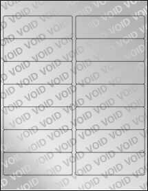 "Sheet of 4"" x 1.33"" Void Silver Polyester labels"
