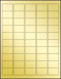 """Sheet of 1.5"""" x 1"""" Gold Foil Inkjet labels"""