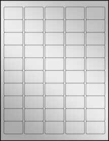 """Sheet of 1.5"""" x 1"""" Silver Foil Inkjet labels"""