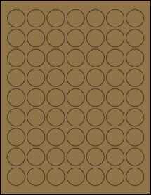 """Sheet of 1"""" Circle Brown Kraft labels"""