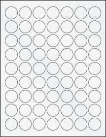 "Sheet of 1"" Circle Clear Matte Inkjet labels"