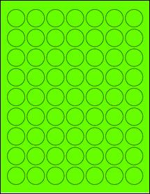 "Sheet of 1"" Circle Fluorescent Green labels"