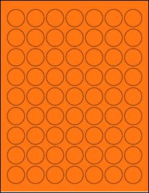 "Sheet of 1"" Circle Fluorescent Orange labels"