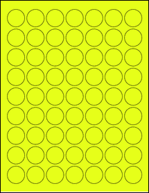 """Sheet of 1"""" Circle Fluorescent Yellow labels"""