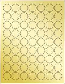 """Sheet of 1"""" Circle Gold Foil Inkjet labels"""