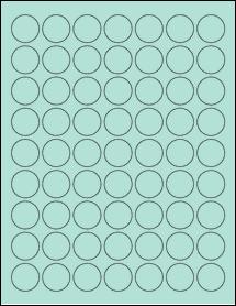 "Sheet of 1"" Circle Pastel Green labels"