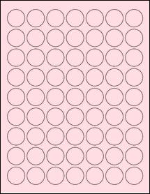 """Sheet of 1"""" Circle Pastel Pink labels"""