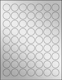 "Sheet of 1"" Circle Silver Foil Laser labels"