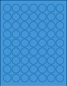 "Sheet of 1"" Circle True Blue labels"