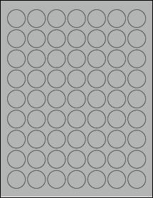 "Sheet of 1"" Circle True Gray labels"