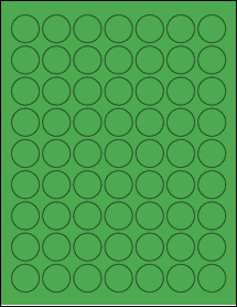 "Sheet of 1"" Circle True Green labels"