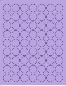 "Sheet of 1"" Circle True Purple labels"