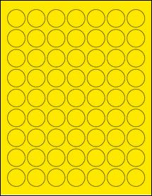 "Sheet of 1"" Circle True Yellow labels"