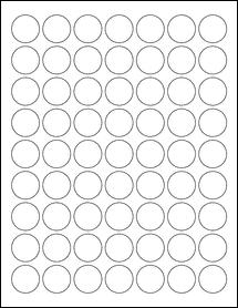 "Sheet of 1"" Circle Weatherproof Matte Inkjet labels"