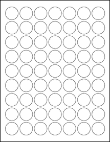 """Sheet of 1"""" Circle Removable White Matte labels"""