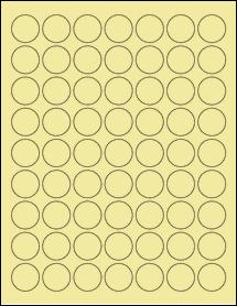 """Sheet of 1"""" Circle Pastel Yellow labels"""